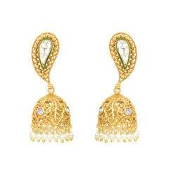 Gold Plated Pair of Jhumki style Earrings
