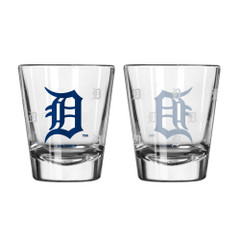 Detroit Tigers Shot Glass Satin Etch Style 2 Pack Special Order