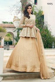 Golden color Soft Net Fabric Full Sleeves Floor Length Indowestern or Lehenga Choli attire