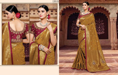 Brown color Silk Fabric Saree