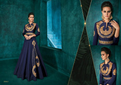Navy Blue color Full Sleeves Floor Length Silk Fabric Gown