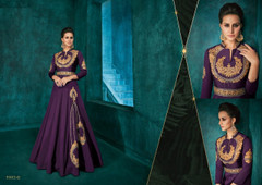 Purple color Full Sleeves Floor Length Silk Fabric Gown