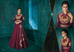 Maroon color Full Sleeves Floor Length Silk Fabric Gown