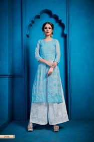 Blue and White color Embroidered Georgette Fabric Bottom and Top