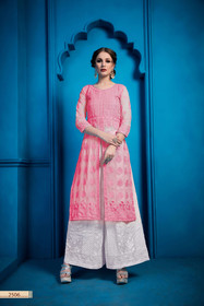 Pink and White color Embroidered Georgette Fabric Bottom and Top
