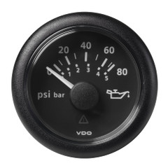 """VDO Marine 2-1\/16"""" (52MM) Viewline Oil Pressure Gauge 80 PSI\/5 Bar - 8-32V - Black Dial  Round Bezel [A2C59514128]"""