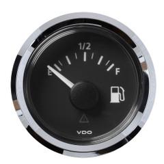 """VDO Marine 2-1\/16"""" (52MM) Viewline Fuel Level Gauge Empty\/Full - 8-32V - 240 - 33.5 OHM - Black Dial  Chrome Triangular [A2C59514095]"""