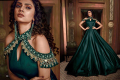 Bottle Green color Satin Silk Fabric Floor Length Gown