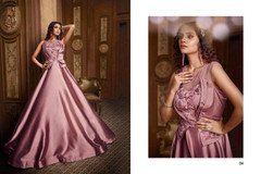 Mauve color Satin Silk Fabric Floor Length Gown