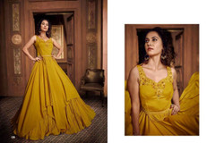 Mustard color Satin Silk Fabric Floor Length Gown