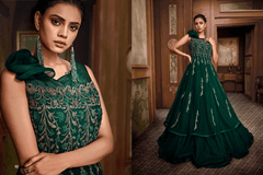 Green color Net and Satin Silk Fabric Floor Length Gown
