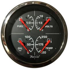 """Faria 4"""" Multi-Function Gauge w\/Fuel, Oil Pressure, Voltmeter  Water Temp [GF0035]"""