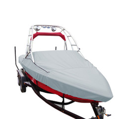 Carver Performance Poly-Guard Specialty Boat Cover f\/23.5 Sterndrive V-Hull Runabouts w\/Tower - Grey [97123P-10]