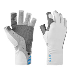 Mustang Traction UV Open Finger Fishing Glove - Light Gray\/Blue - Medium [MA6007-M-271]