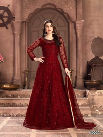 Red color Full Sleeves Floor Length Net Fabric Anarkali style Suit