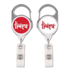 Nebraska Cornhuskers Badge Holder Premium Retractable Alternate