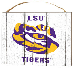 """KH Sports Fan 4"""" x 5.5"""" Louisiana State Fighting Tigers Weathered Logo Small College Plaque"""