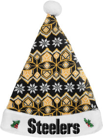 FOCO NFL Pittsburgh Steelers Knit Holiday Santa Hat Cap, Team Color, One Size