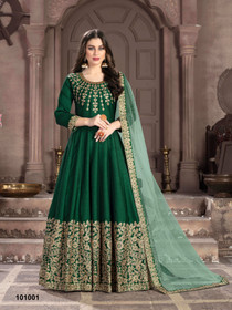 Green color Silk Fabric Full Sleeves Floor Length Anarkali style Suit