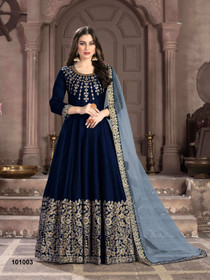Royal Blue color Silk Fabric Full Sleeves Floor Length Anarkali style Suit