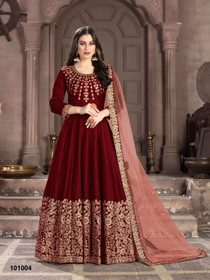 Red color Silk Fabric Full Sleeves Floor Length Anarkali style Suit