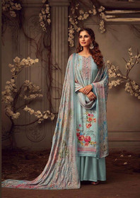 Blue color Printed Pure Muslin Fabric Suit