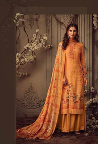 Orange color Printed Pure Muslin Fabric Suit