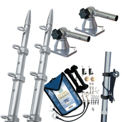 TACO Grand Slam 170 Outrigger Kit 15 Silver\/Silver Poles Rigging Kit  Line Caddy [GS-170VEL15-2]