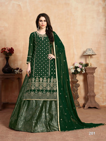 Dark Green color Georgette and Jacquard Fabric Indowestern style Suit