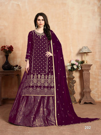 Purple color Georgette and Jacquard Fabric Indowestern style Suit