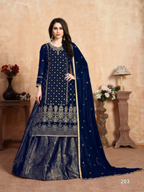Royal Blue color Georgette and Jacquard Fabric Indowestern style Suit