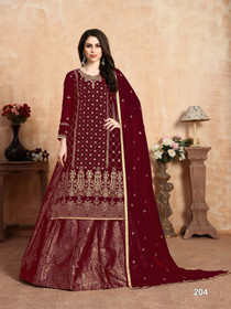 Maroon color Georgette and Jacquard Fabric Indowestern style Suit