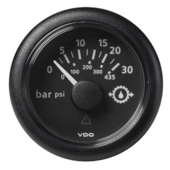 """VDO Marine 2-1\/16"""" (52mm) Viewline Oil Pressure Gauge - 30 Bar - 0 to 5V - Black Dial  Bezel [A2C1278250001]"""