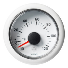 "VDO Marine 2-1\/16"" (52mm) Viewline Outside Temperature - +120F\/+50C - 8 to 32V - White Dial  Bezel [A2C59512339]"