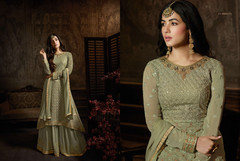 Cardamom Green color Georgette Fabric Party Wear Suit