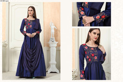 Royal Blue color Tapeta Silk Fabric Gown