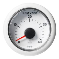 """VDO Marine 2-1\/16"""" (52mm) Viewline Tachometer - 0 to 4000 RPM - 8 to 32V - White Dial  Bezel [A2C59512347]"""