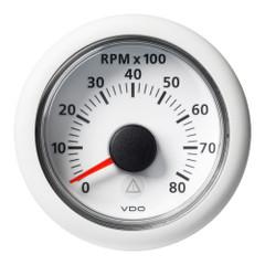 """VDO Marine 2-1\/16"""" (52mm) Viewline Tachometer - 0 to 8000 RPM - 8 to 32V - White Dial  Bezel [A2C59512349]"""
