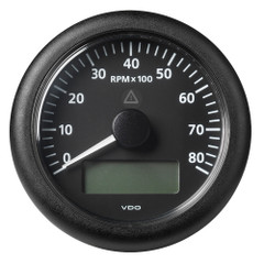 "VDO Marine 3-3\/8"" (85 mm) ViewLine Tachometer with Multi-Function Display - 0 to 8000 RPM - Black Dial  Bezel [A2C59512395]"