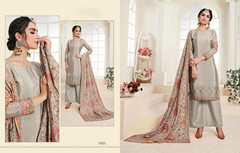 Grey color Chinnon Fabric Suit