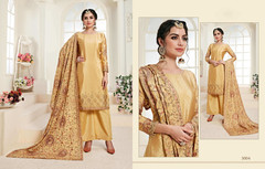 Yellow color Chinnon Fabric Suit