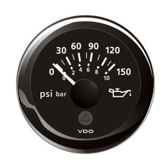 "VDO Marine 2-1\/16"" (52mm) ViewLine Oil Pressure Indicator (8-16V) 0 to 150 PSI - Black Dial  Round Bezel [A2C59514118]"