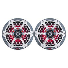 "DS18 HYDRO 8"" 2-Way Marine Speakers w\/RGB LED Lights 450W - Black Carbon Fiber [CF-8]"