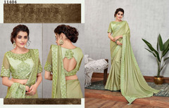 Cardamom Green color Satin Silk Fabric Saree