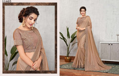 Brown color Tussar Silk Fabric Saree