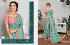 Blue color Jacquard Silk Fabric Saree