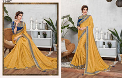 Yellow color Jacquard Silk Fabric Saree