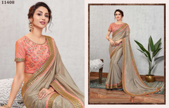 Grey color Silk Georgette Fabric Saree