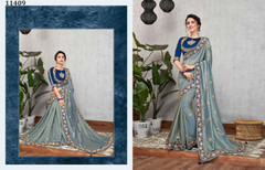 Blue color Dual Tone Silk Fabric Saree