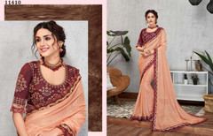 Peach color Silk Georgette Fabric Saree